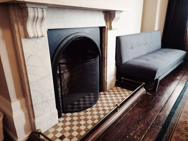 Marble fireplace, sofa bed available for extra guests