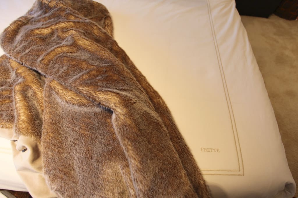 Frette linens and fur throws