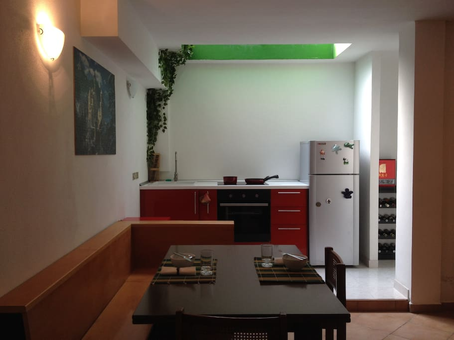 Table and furnished kitchen