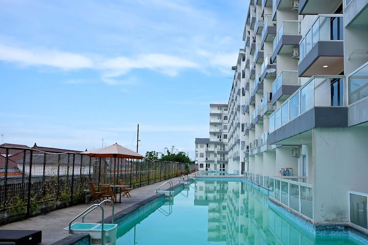 Shared swimming pool in the apartment building