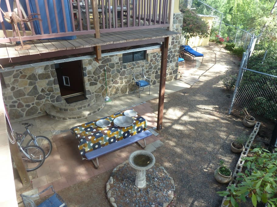 Bird's eye view of yard area - rental with stone exterior