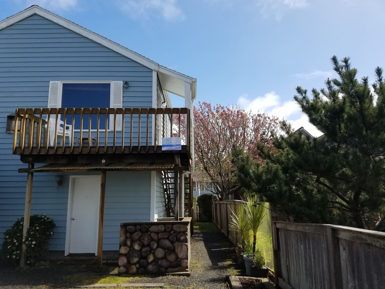 Studio is upstairs and this is the deck and window with Ocean View.exterior