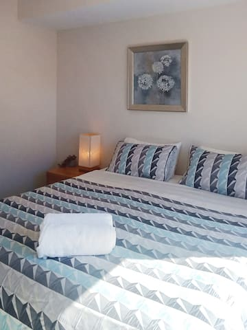 One of two bedrooms downstairs.  Comfy King size bed which can be split into two Single beds if required