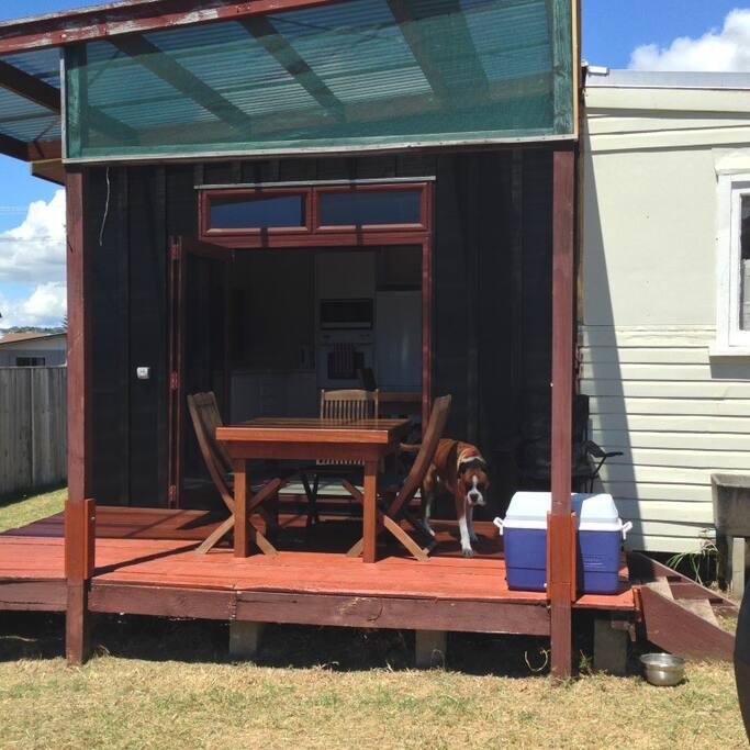 Deck outside kitchen