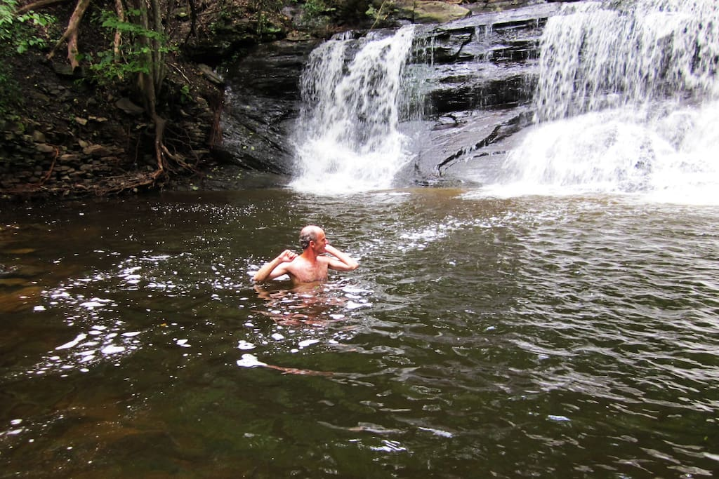 RJ Falls with swimming hole, depth varies depending on water level.  Bring water shoes.