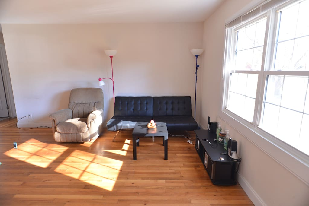 Sunny living room with stereo system