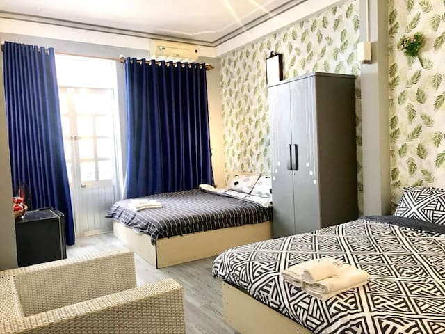 201-TWIN DOUBLE BED ROOM – NICE STREET BALCONY