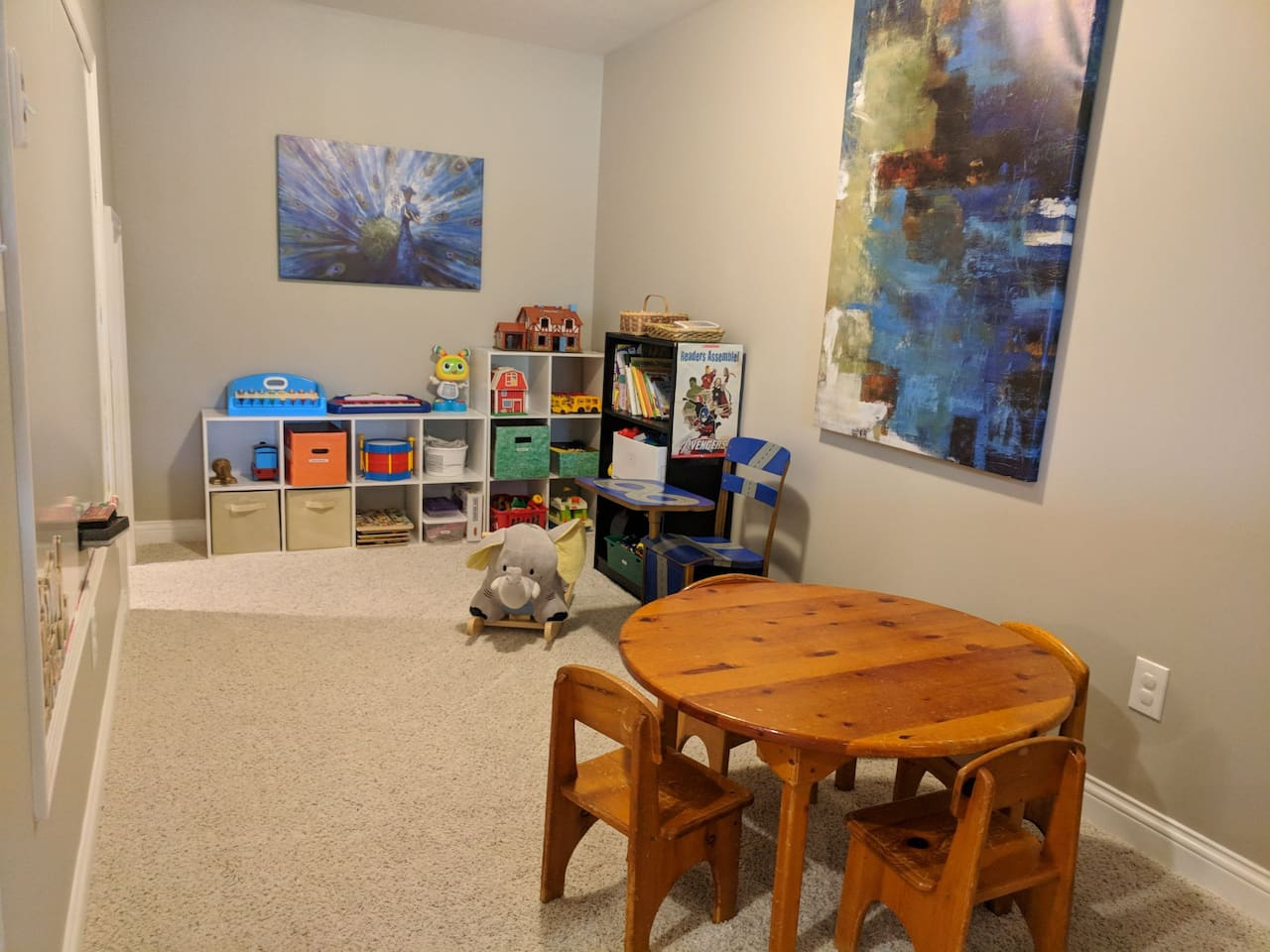 Playroom stocked with toys! What's more fun than getting to play with other kids' toys?!