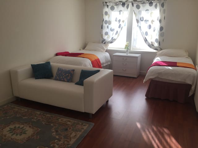 Single/double/ twin/triple/family room with large TV screen DVD and sitting area
