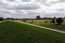 Blick vom Deich, bei Aschendorf , bzw der Radfahrweg entlang der Ems.