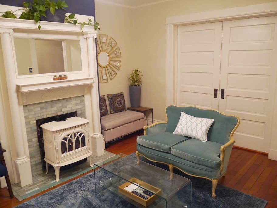Gas fireplace and pocket doors to your bedroom