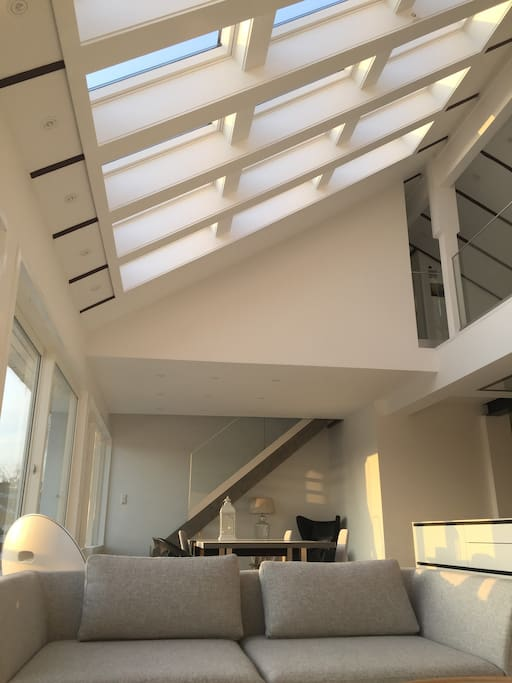 The skylight windows provide good light during daytime. The  downlights are strategically placed around the apartment to provide various  mood effects