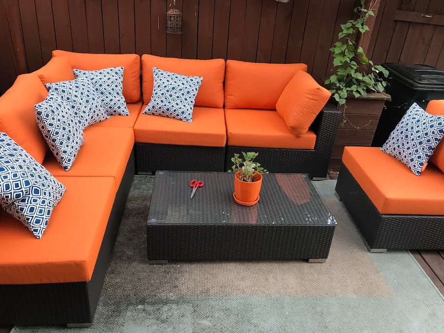 Beautiful sectional seating on back deck.