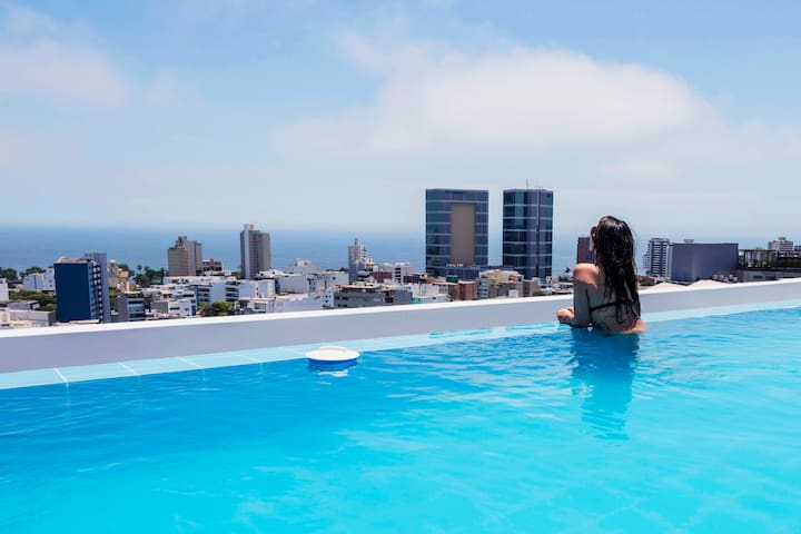 Pool,Executive 1BD Apartment Miraflores - Lima - Appartement