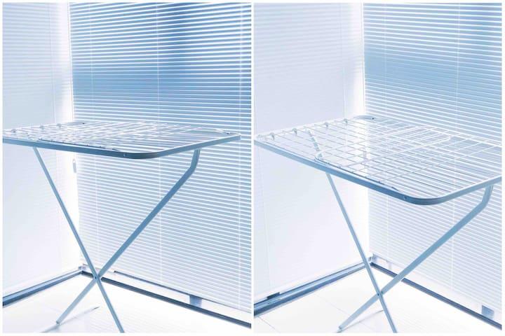 大阳台的铝合金百叶窗、晾晒架 纯白色的百叶窗拍照很好看呢 夏天也不怕晒哦~