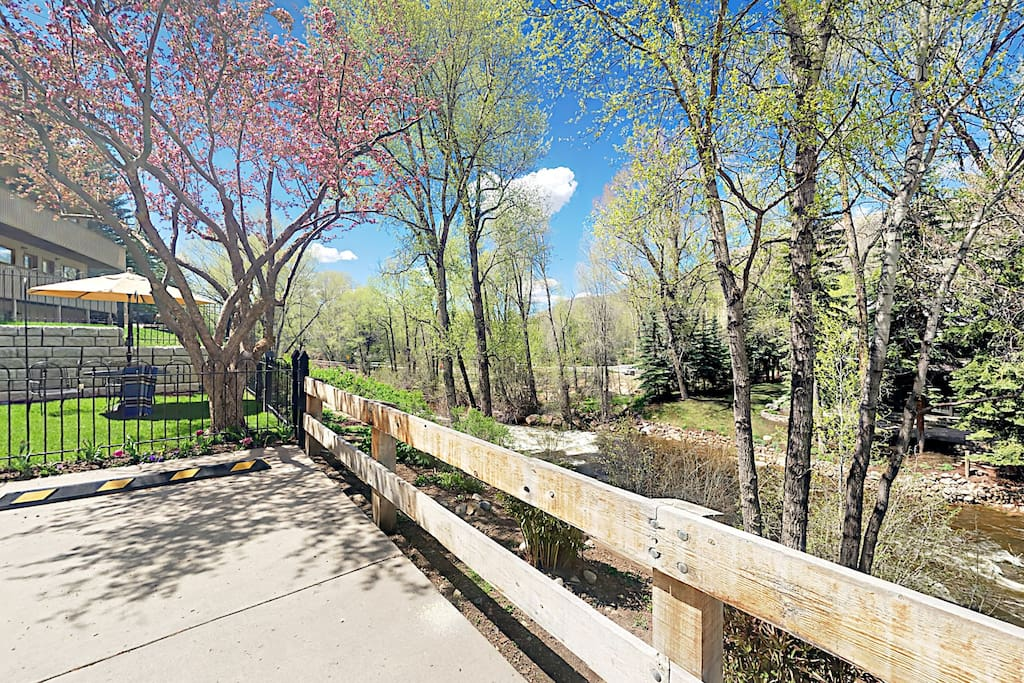 This condo is set on the Roaring Fork River.