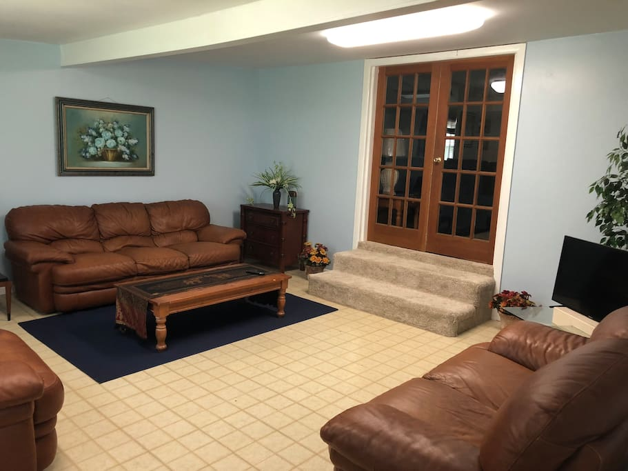 Bonus Room - Leather couch, loveseat and chair with TV