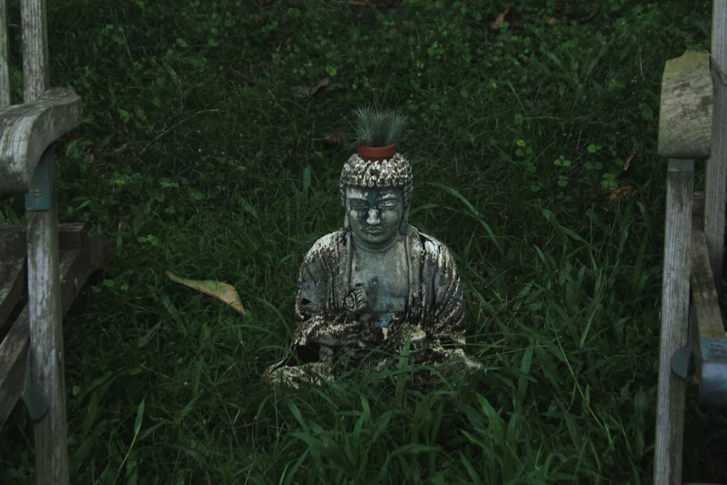 Farm Buddha sits with you as you take in the lush scenery and sounds of nature