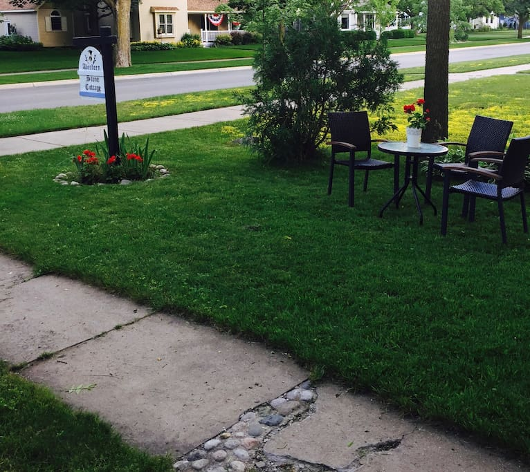 Front yard seating and sign