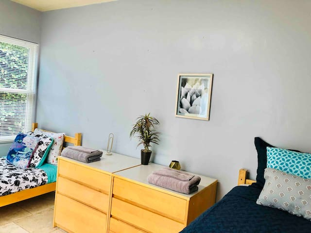 Clean and Tidy Room with two Twin XL beds