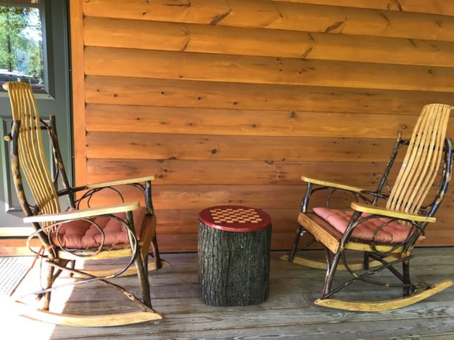 Checkers on the cabin porch