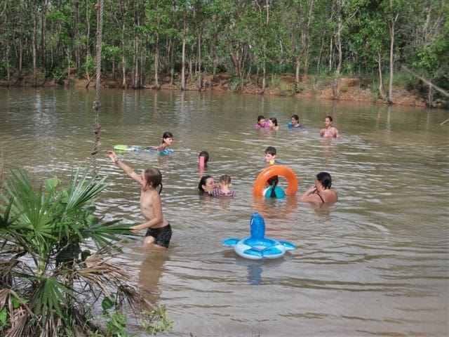 Wet season dam, great for a party! Beaut for birdlife all year round.