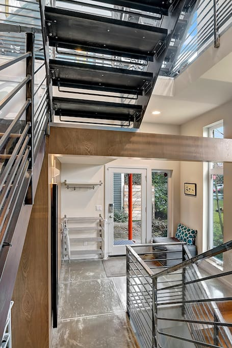 Sleek and modern, this industrial chic townhome is full of natural light.