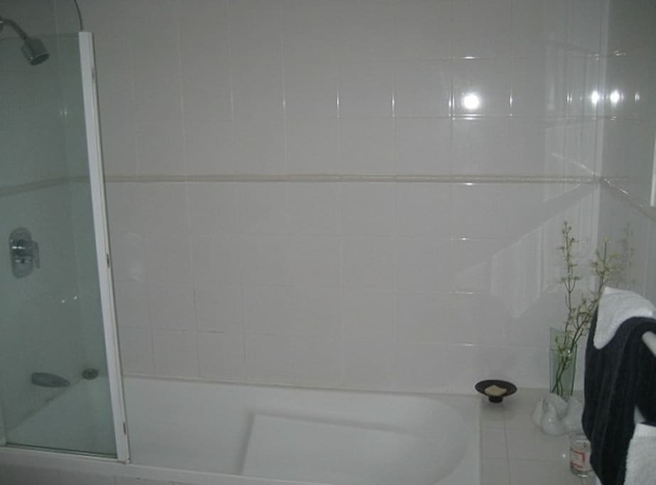 Large bathroom with bath and shower