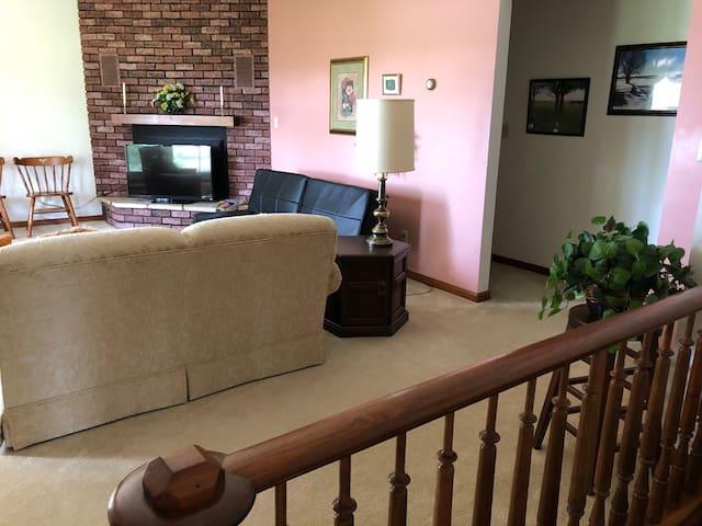 Living room has antenna TV with Roku.