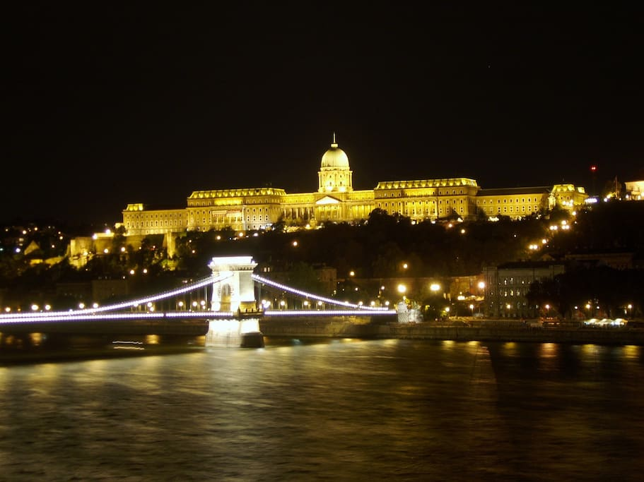 View from the living room Chain Bridge, Buda Castle