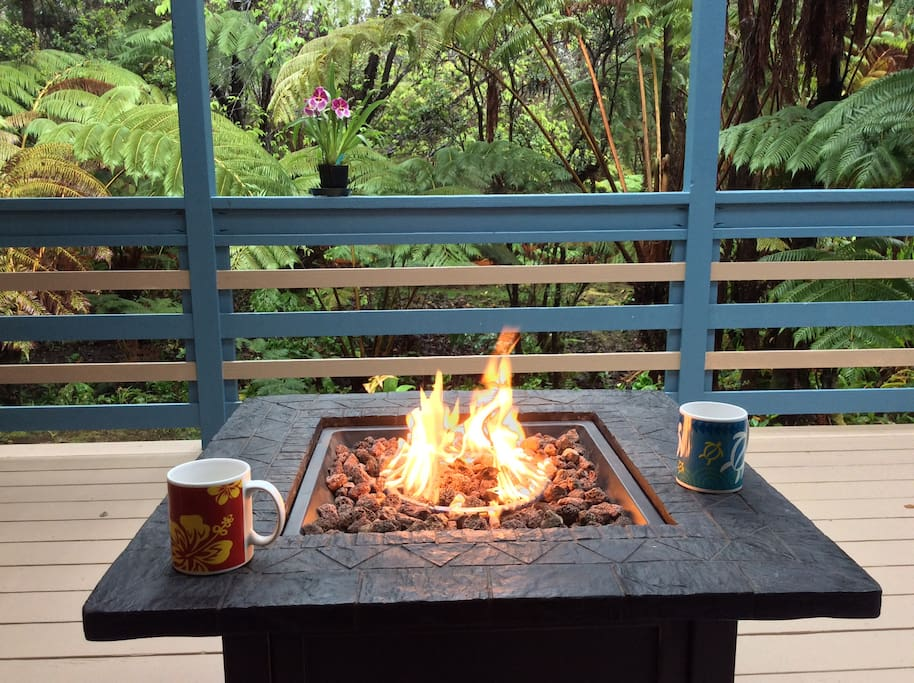 The view into the back yard with the fire table warming the area ...wonder-fully relaxing!