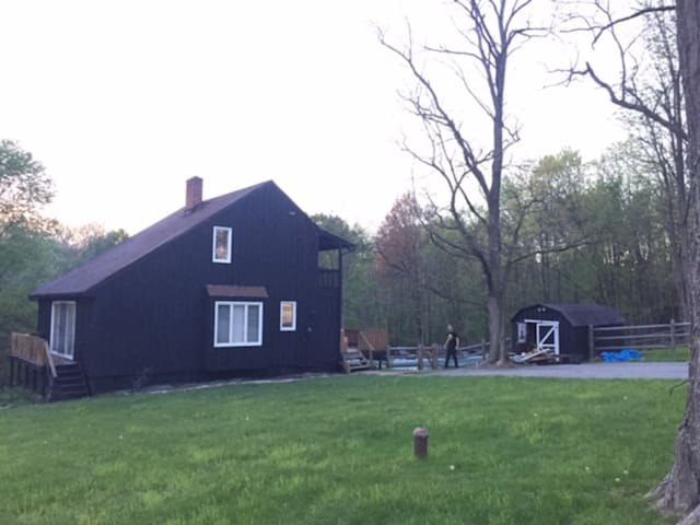 Rhinebeck retreat with pool, fire pit & wood stove