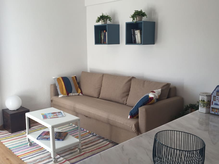 The sofa corner to relax after a day of sightseeing