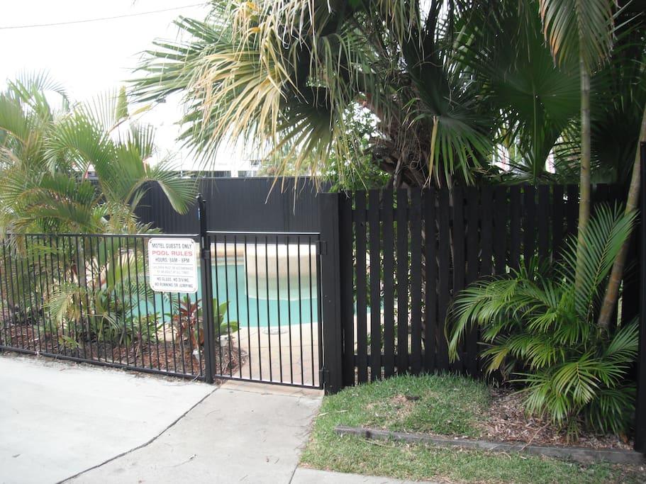 Pool entrance & gardens