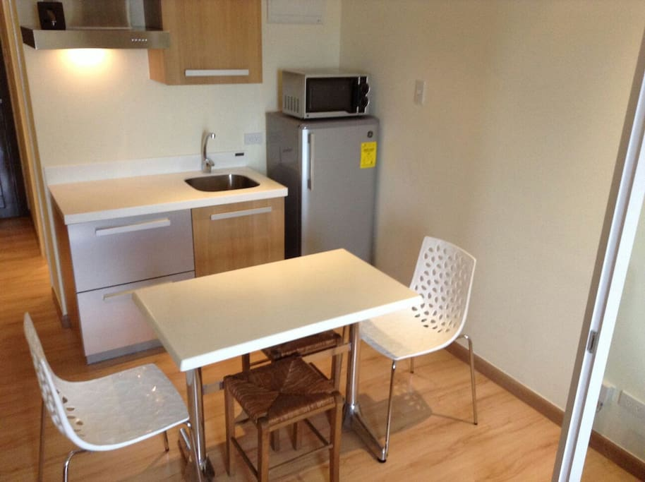 Studio with kitchenette.  Electric stove available on request