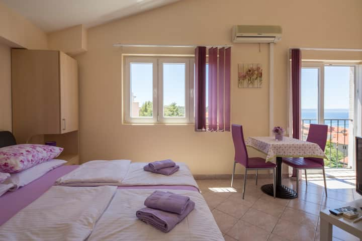 Panoramic view  studio with french balcony