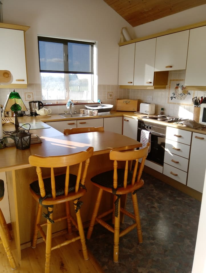 Kitchen - fully equipped with oven, hob, microwave, washing machine, kettle, toaster and George Foreman grill.