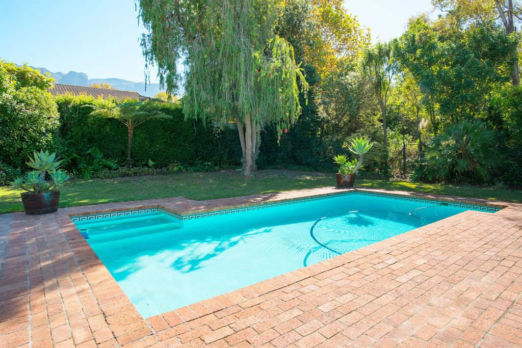 Large pool and luscious garden