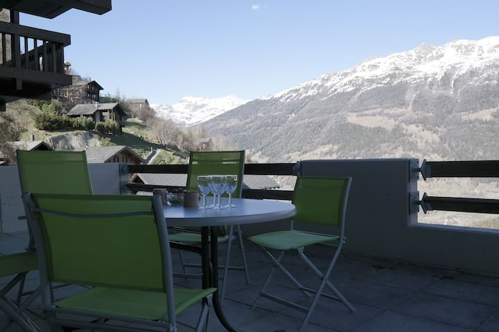 Beautiful ski in ski out flat with amazing terrace - Grimentz - Lägenhet