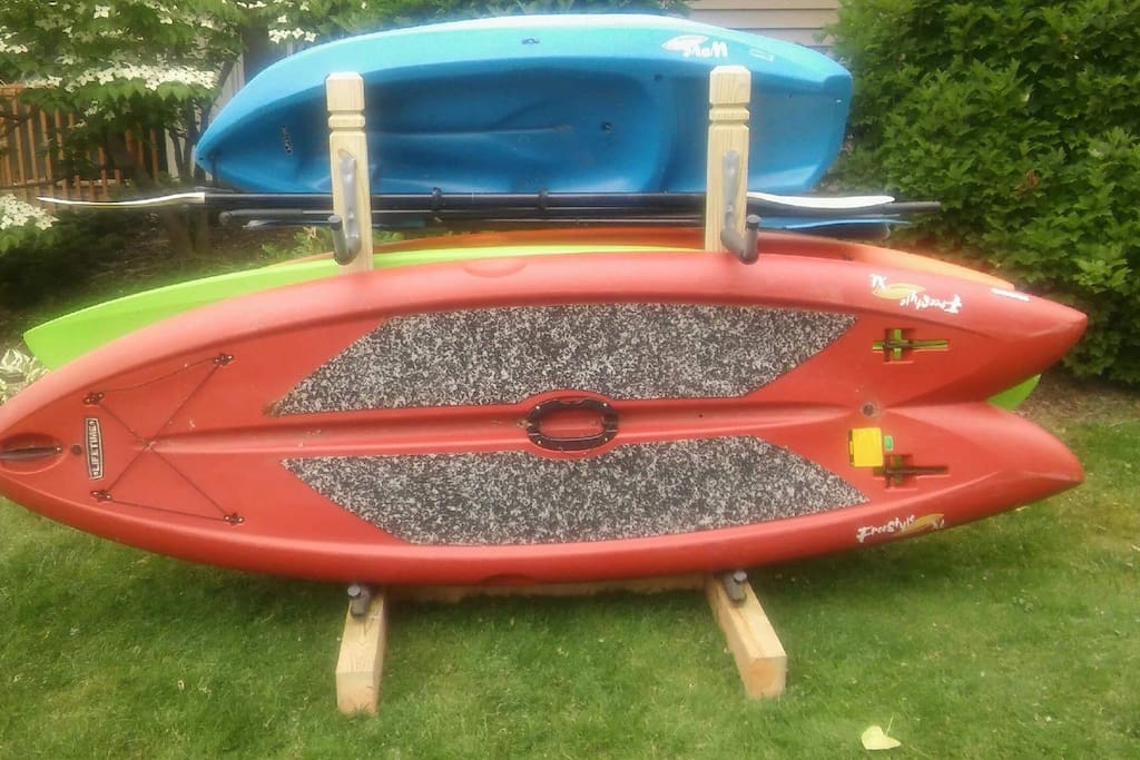 4 paddleboards, two adult kayaks, one youth kayak and a fishing boat included for use.