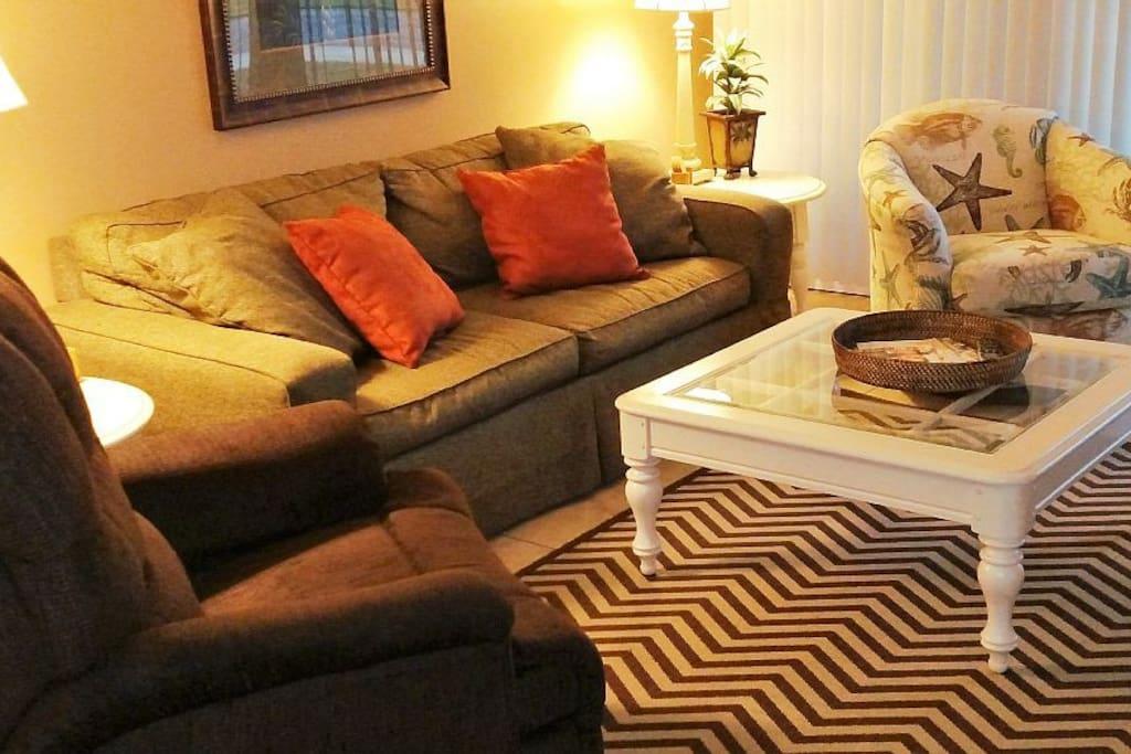 Den has queen sleeper sofa