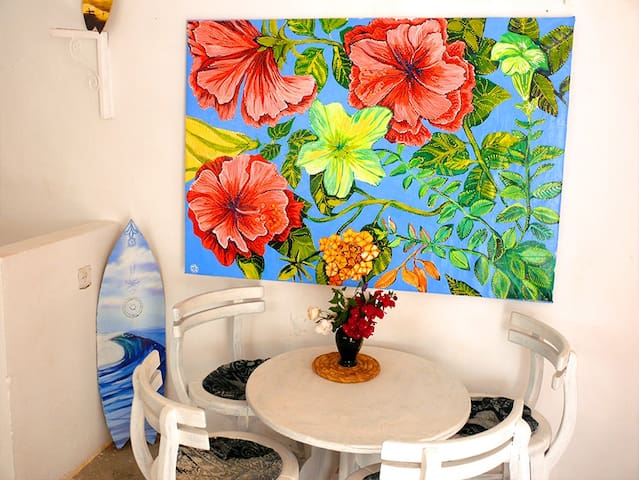 Table and blooming picture