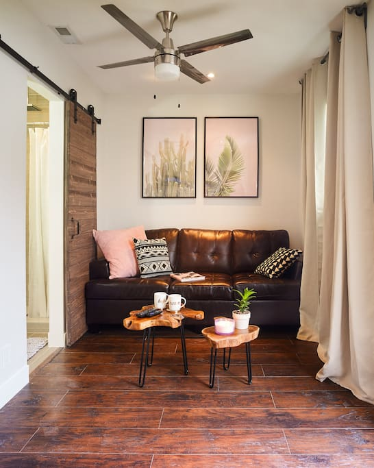 Modern rustic living area (2nd room) has a queen bed sofa sleeper, live plants,  & ceiling fan. Sliding barn door leads to bathroom.