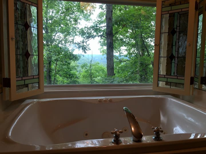 Ozark Spring Cabins Rock Bluff #3, King Bed, Giant Spa Tub, Kitchen, Secluded, Private Deck, W/ View