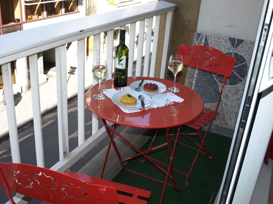You can enjoy a meal on the balcony