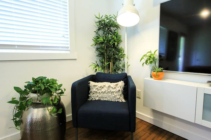 Reading nook with lots of greenery