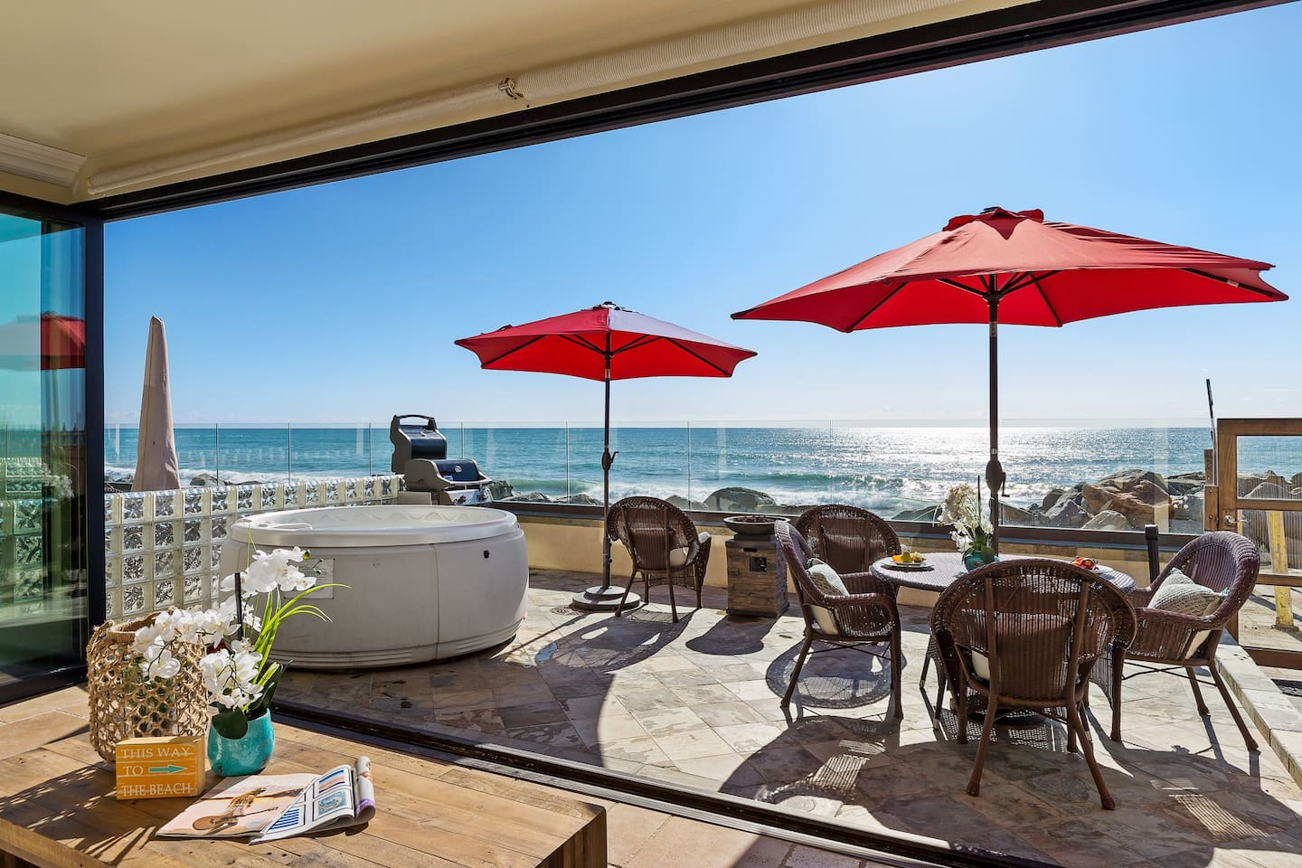 Panoramic Doors, Spa, Patio, and the Ocean Out Front