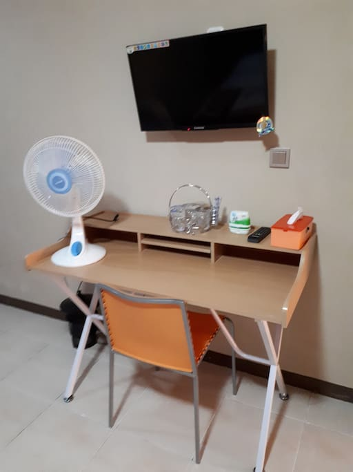 TV and working desk are available in the room