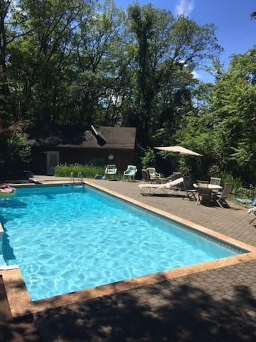 Private entrance pool room, separate from main house. Cozy and rustic, filled with country character