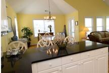 Kitchen bar and dinning area.